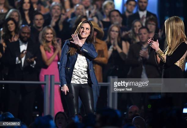 Author and veteran family activist Taya Kyle and TV personality Nancy O'Dell speak onstage during the 50th Academy of Country Music Awards at ATT...