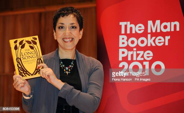 Author Andrea Levy with her novel Long Song which is shortlisted for the Man Booker 2010 literary prize at the Royal Festival Hall in London this...