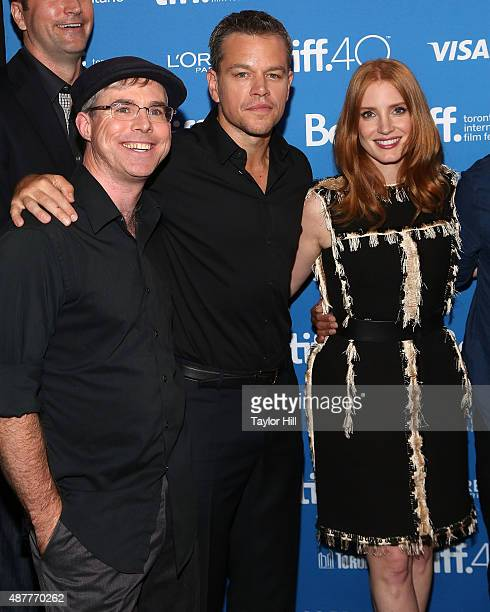Author Andy Weir Matt Damon and Jessica Chastain attend the photocall for 'The Martian' at TIFF Bell Lightbox during the 2015 Toronto International...