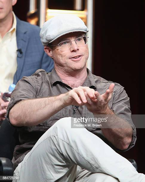 Author Andy Weir speaks onstage during the 'National Geographic Channel MARS' panel discussion at the National Geographic Channels portion of the...