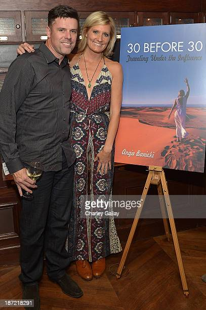 Author Angie Banicki and Movember's Adam Garone attend the launch party for Angie Banicki's book '30 Before 30 Traveling Under The Influence' at the...