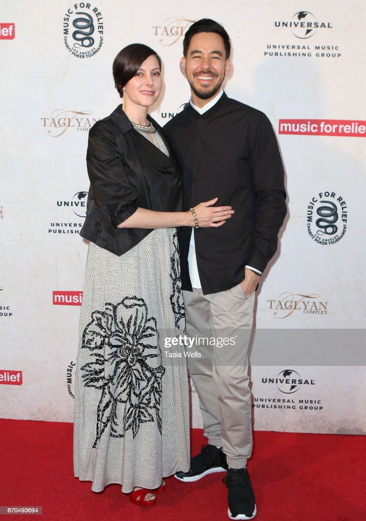 Author Anna Shinoda (L) and Mike Shinoda of Link Park attend Linkin Park's Music for Relief - Charity Poker Tournament at Taglyan Cultural Complex on April 19, 2017 in Hollywood, California.