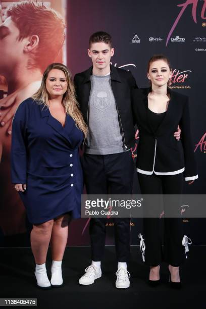 Author Anna Todd actress Josephine Langford and actor Hero Fiennes Tiffin attend 'After Aqui Empieza Todo' photocall at the VP Hotel on March 26 2019...