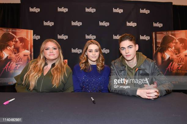 Author Anna Todd actress Josephine Langford and actor Hero Fiennes Tiffin attend the After book signing at Indigo Yorkdale on April 04 2019 in...