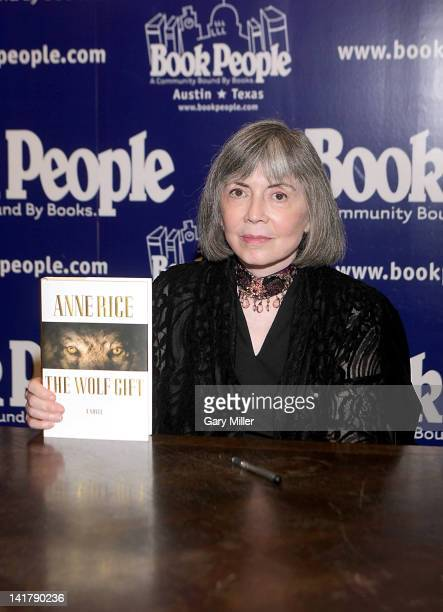 Author Anne Rice signs her new book 'The Wolf Gift' at Book People on March 23 2012 in Austin Texas