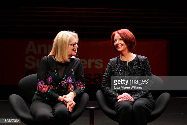 Author Anne Summers and Former Australian Prime Minister Julia Gillard pose for a photo ahead of the inaugural 'Anne Summers Conversations Session'...
