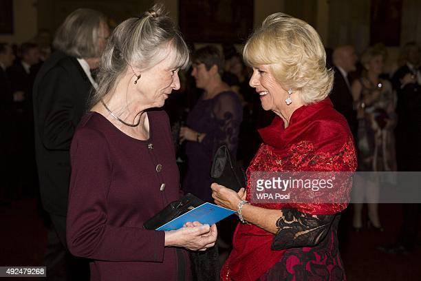 Author Anne Tyler and Camilla Duchess of Cornwall attend the 2015 Man Booker Prize winners reception at The Guildhall on October 13 2015 in London...