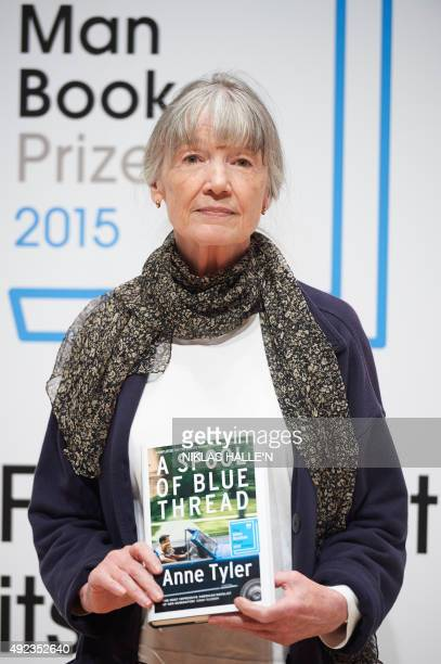 US author Anne Tyler poses for a photograph at a photocall in London on October 12 ahead of tomorrow's announcement of the winner of the 2015 Man...