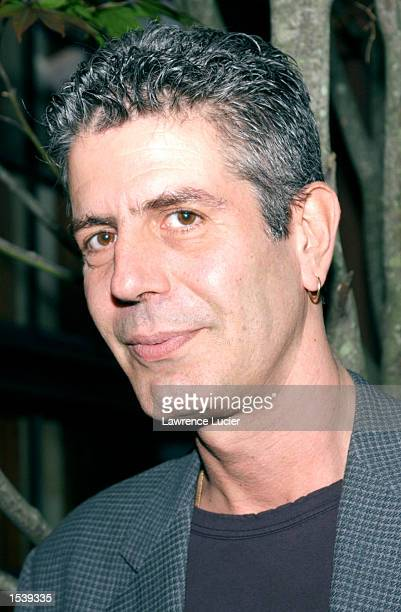 Author Anthony Bourdain arrives at the New York Times Book Review Book Expo party May 2 2002 in New York City
