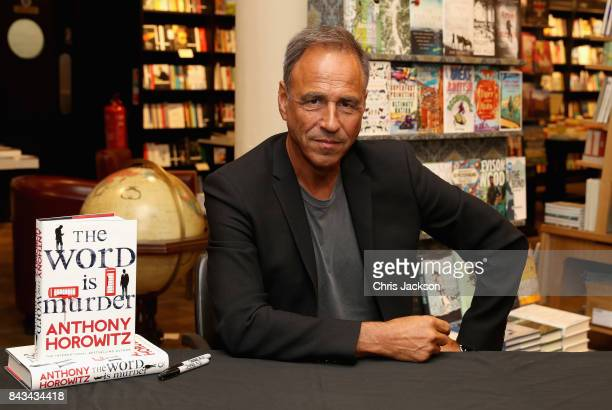 Author Anthony Horowitz poses with his book 'The Word Is Murder' at Waterstones Piccadilly on September 6 2017 in London England Anthony is the...