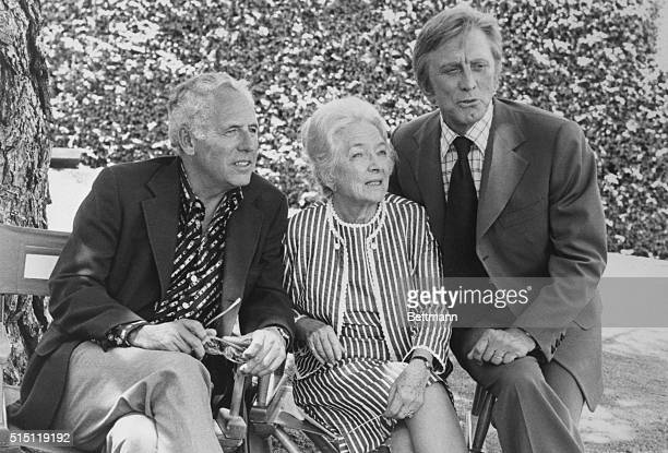 Author Arthur Hailey on a visit to Hollywood joins Helen Hayes and Kirk Douglas to watch filming of his latest best seller 'The Moneychangers' a six...