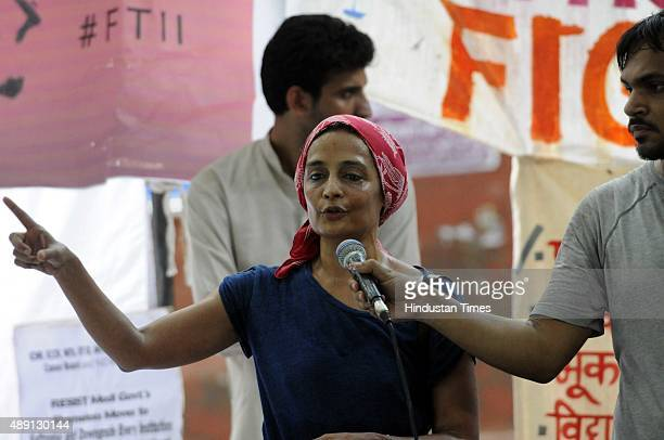 Author Arundhati Roy addresses students of Film and Television Institute of India who are demanding the cancellation of the appointment of Gajendra...