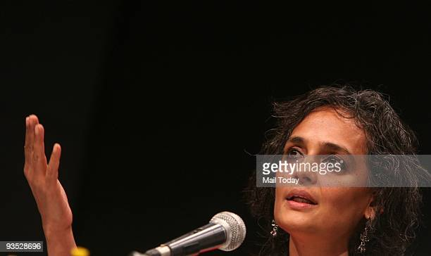 Author Arundhati Roy speaking at a discussion on her latest book 'Listening to Grasshoppers field notes on democracy' at Jamia Milia Islamia on...