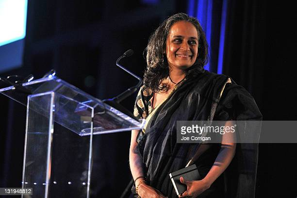 Author Arundhati Roy speaks at the 3rd Annual Norman Mailer Center Gala at the Mandarin Oriental Hotel on November 8 2011 in New York City