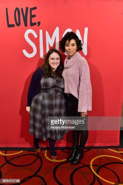 Author Becky Albertalli and actress Alexandra Shipp attend as YouTuber Joey Graceffa Introduces 'Love Simon' in Atlanta with Author Becky Albertalli...