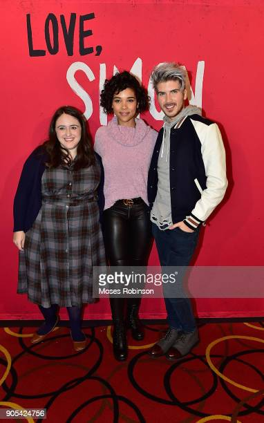 "Author Becky Albertalli,actress Alexandra Shipp and Joey Graceffa attend as YouTuber Joey Graceffa Introduces ""Love, Simon"" in Atlanta with Author..."