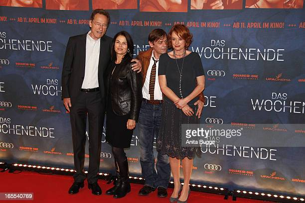 Author Bernhard Schlink, actors Barbara Auer and Sylvester Groth and director Nina Grosse attend the 'Das Wochenende' premiere at Kino International...
