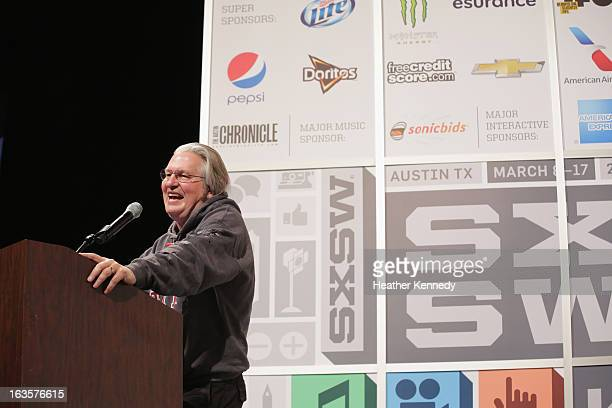 Author Bruce Sterling speaks onstage at Bruce Sterling Closing Remarks during the 2013 SXSW Music Film Interactive Festival at Austin Convention...