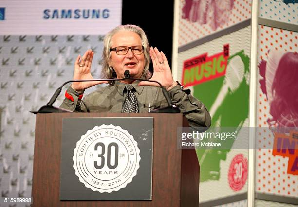 Author Bruce Sterling speaks onstage at 'Closing Remarks Bruce Sterling' during the 2016 SXSW Music Film Interactive Festival at Austin Convention...