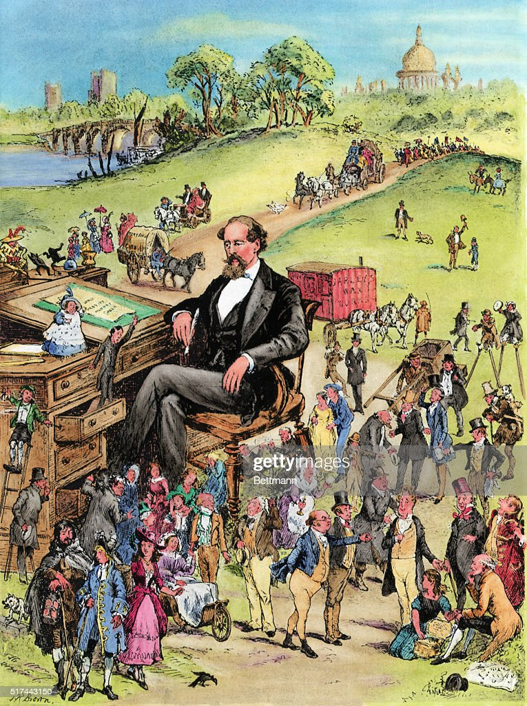 Illus Charles Dickens @Desk W/Characters : News Photo