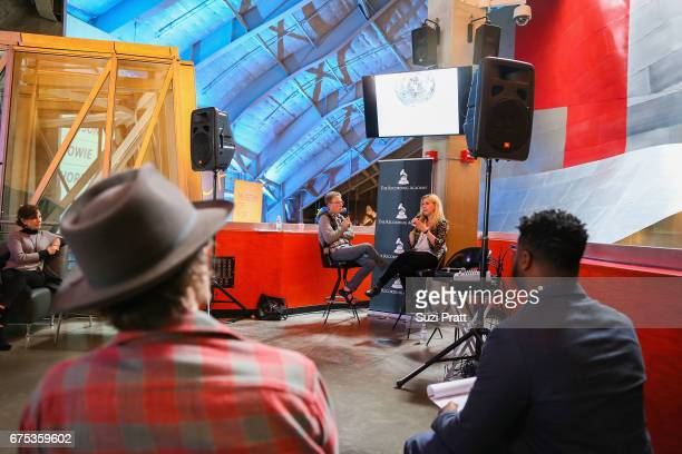 Author Charles R Cross speaks with Jen Czeisler at the GRAMMYPro Songwriter's Summit at Museum of Pop Culture on April 30 2017 in Seattle Washington