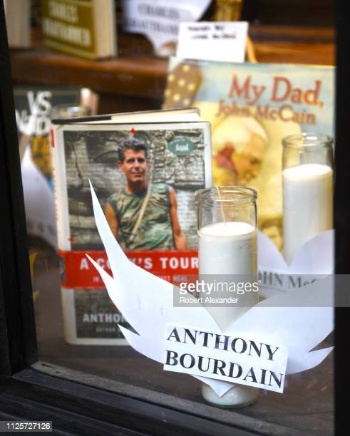 Author chef and television personality Anthony Bourdain is among persons who died in 2018 and who were honored in a bookstore window display in Santa...