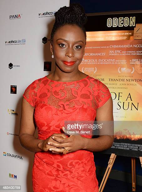 Author Chimamanda Ngozi Adichie attends the UK Premiere of 'Half Of A Yellow Sun' at Odeon Streatham on April 8 2014 in London England