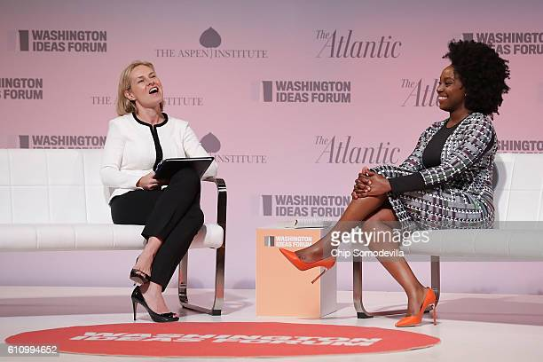 Author Chimamanda Ngozi Adichie is interviewed by The Atlantic Contributing Editor and NPR reporter Mary Louise Kelly during the Washington Ideas...