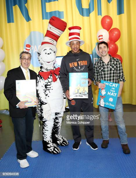Author Chris Grabenstein The Cat In The Hat former professional basketball player John Starks and actor Justin Long attend Read Across America Day...