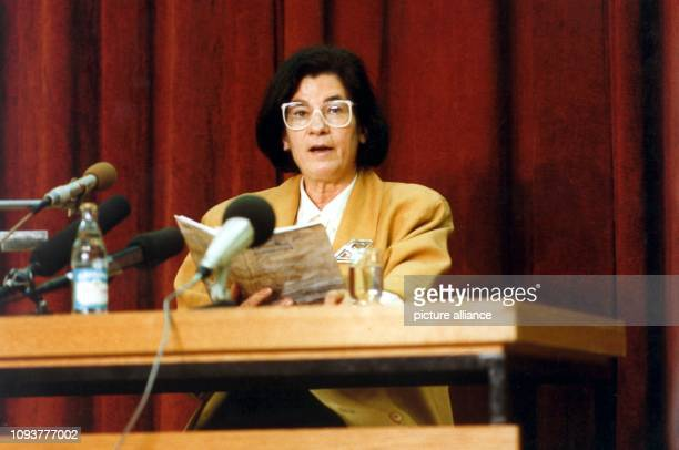 GDR author Christa Wolf reads from her book 'Sommerstueck' in an auditorium of the KarlMarxUniversity in Leipzig East Germany 12 March 1989 Christa...