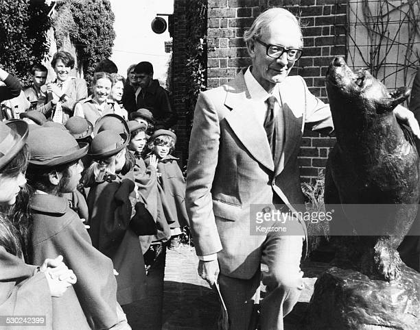 Author Christopher Robin Milne unveiling a statue of a bear in honor of his father A A Milne and his creation Winnie the Pooh at London Zoo September...