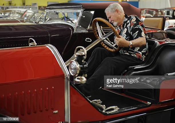 Author Clive Cussler climbed into the driver's seat of a 1913 Stutz Bearcat automobile that is a part of his car collection at his museum in Arvada...