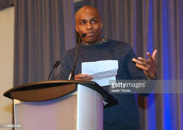 Author Dalton Higgins attend the 5th Annual Black Arts Innovation Expo at Toronto's Arcadian Court on February 21 2019 in Toronto Canada