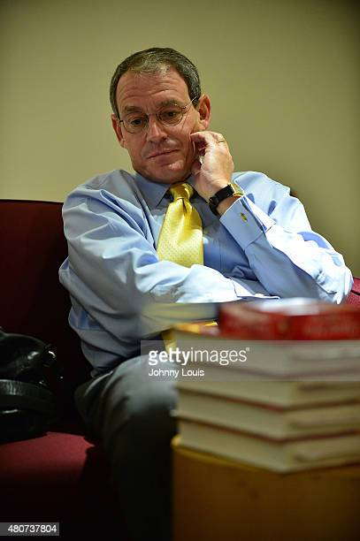 Author Daniel Silva attends a conversation and books signing of The English Spy Presented by Books Books and The Center for Literature Writing at The...
