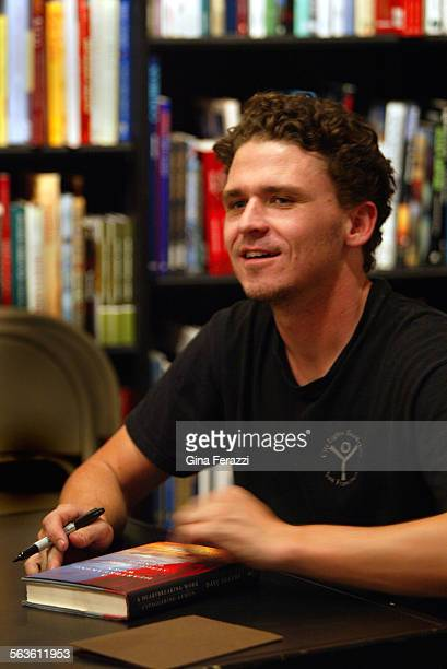 Author Dave Eggers signs his latest book 'You Shall Know our Velocity' at Booksoup in west Hollywood on Saturday Oct 5 2002