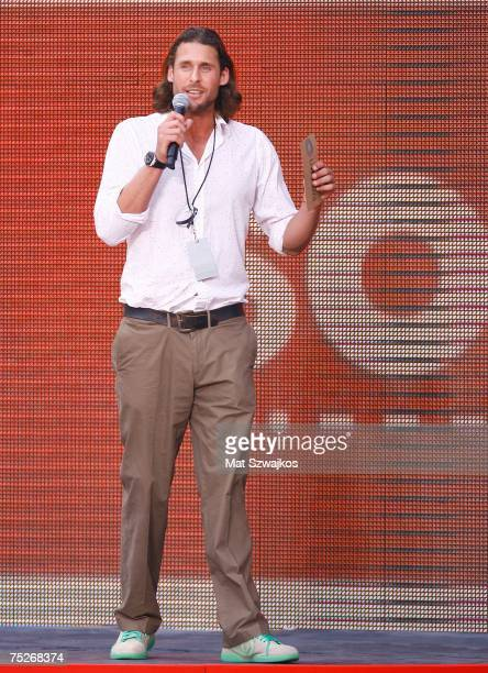 Author David de Rothschild speaks onstage during Live Earth New York at Giants Stadium on July 7 2007 in East Rutherford New Jersey