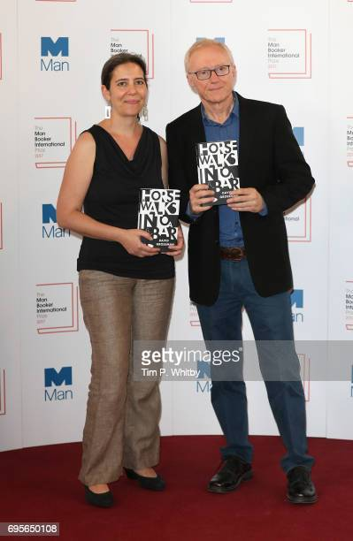 Author David Grossman of Israel and translator Jessica Cohen of the United States of America with the book 'A Horse Walks into a Bar' at a photocall...
