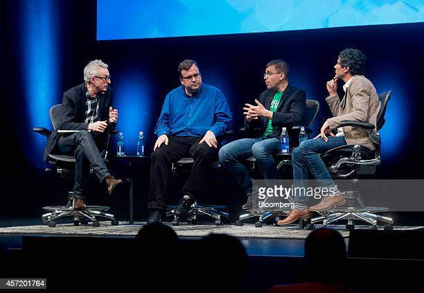 Author David Kirkpatrick, from left, moderates a panel discussion with Reid Hoffman, chairman and co-founder of LinkedIn Corp., Max Levchin,...