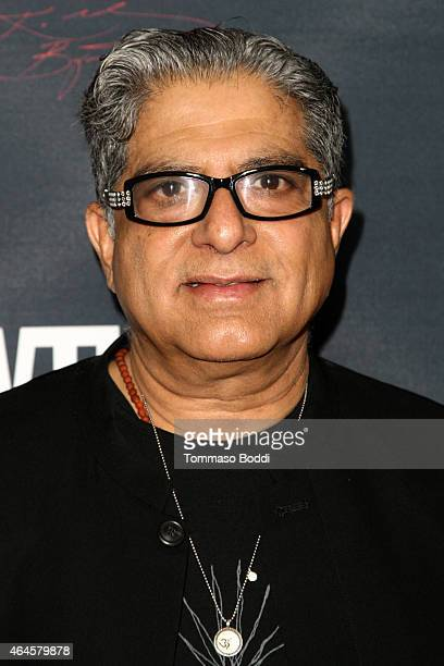 Author Deepak Chopra attends the premiere event for the Showtime cocumentary 'Kobe Bryant's Muse' held at The London Hotel on February 26 2015 in...