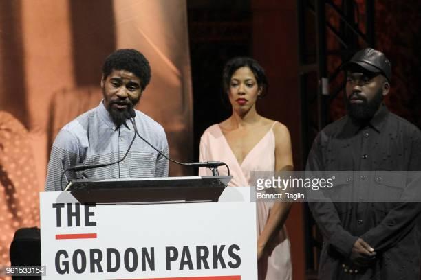 Author Devin Allen Gordon Parks Foundation Fellow Deana Lawson Gordon Parks Foundation Fellow Derrick Adams speak on stage during Gordon Parks...