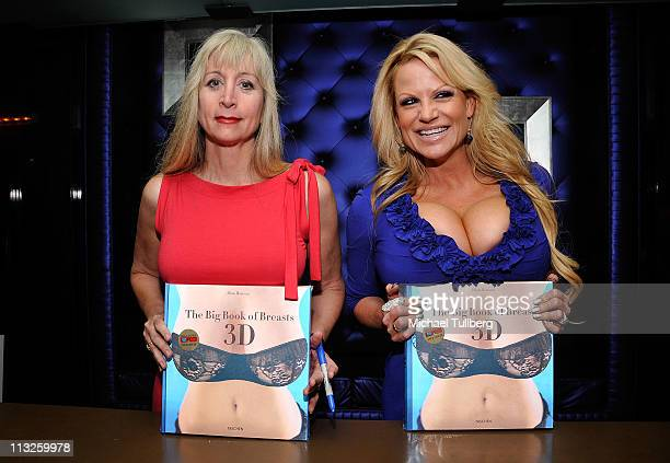 Author Dian Hanson and adult film actress Kelly Madison arrive at the book release party for Taschen Playboy's The Big Book Of Breasts 3D on April 28...