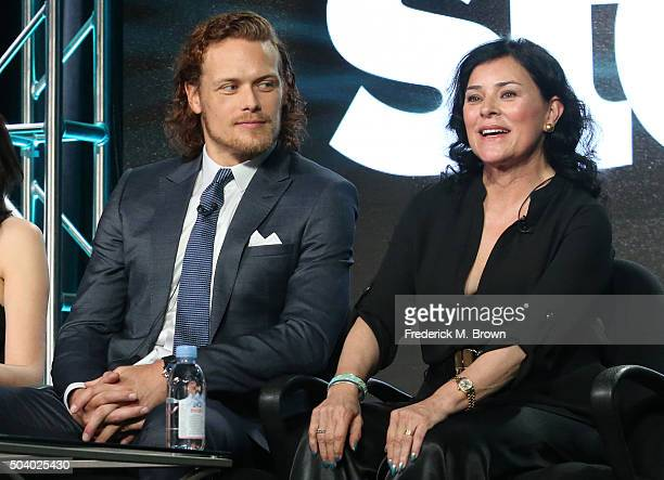 Author Diana Gabaldon and actor Sam Heughan speak onstage during the Outlander panel as part of the Starz portion of This is Cable 2016 Television...