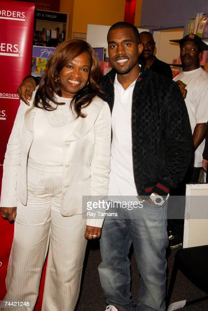 Author Donda West and her son recording artist Kanye West attend the Donda West Raising Kanye Book Signing at Borders June 06 2007 in New York City