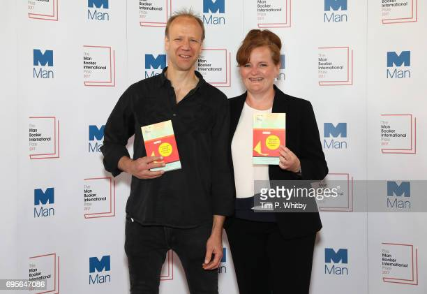 Author Dorthe Nors of Denmark and translator Misha Hoekstra of the United States of America with the book 'Mirror Shoulder Signal' at a photocall for...