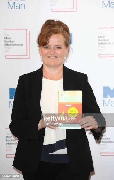 Author Dorthe Nors of Denmark with the book 'Mirror Shoulder Signal' at a photocall for the shortlisted authors and translators for the Man Booker...