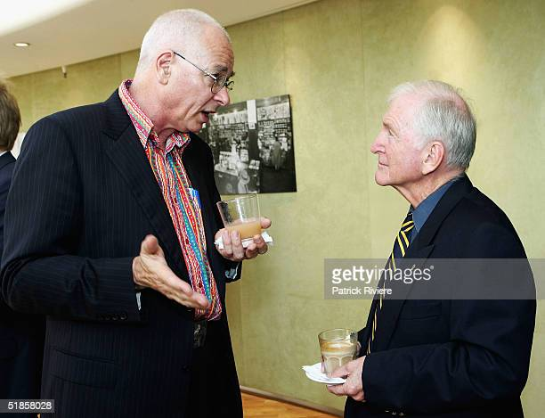 """Author Dr Karl Kruszelnicki talks with author Bryce Courtenay at the launch of the 125th Anniversary of """"Dymocks"""", Australia's oldest bookseller, at..."""
