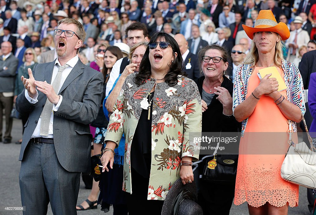 Author E. L. James (C) and husband Niall Leonar attend day two of the Qatar Goodwood Festival at Goodwood Racecourse on July 29, 2015 in Chichester, England.