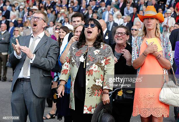 Author E L James and husband Niall Leonar attend day two of the Qatar Goodwood Festival at Goodwood Racecourse on July 29 2015 in Chichester England