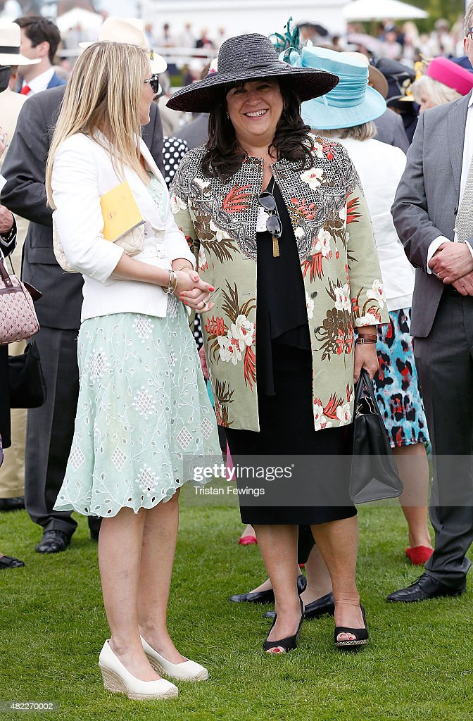 Author E. L. James (R) attends day two of the Qatar Goodwood Festival at Goodwood Racecourse on July 29, 2015 in Chichester, England.