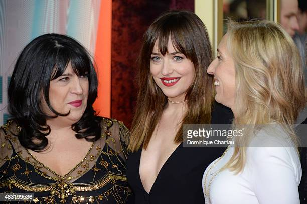 Author EL James actress Dakota Johnson and director Sam TaylorJohnson attends the 'Fifty Shades of Grey' premiere during the 65th Berlinale...